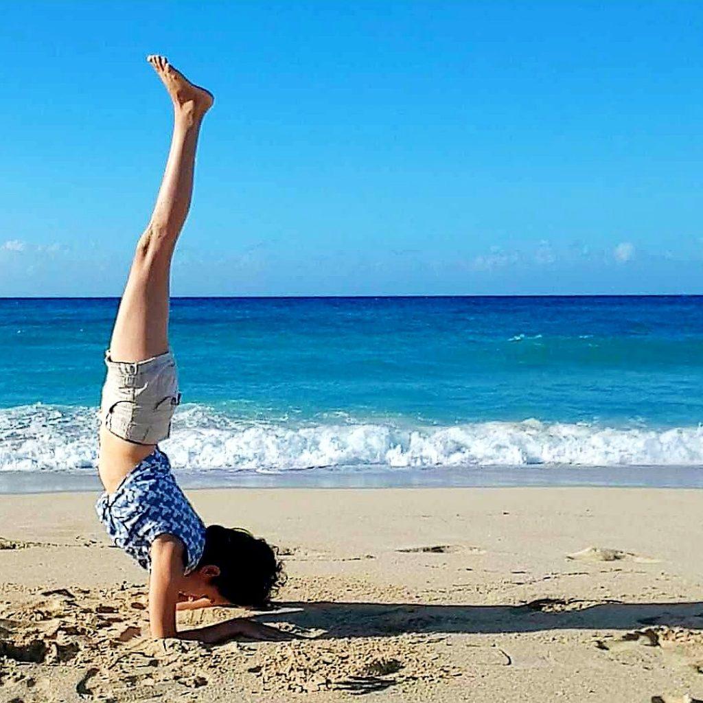 Yoga on Playa del Este, Havana, Cuba